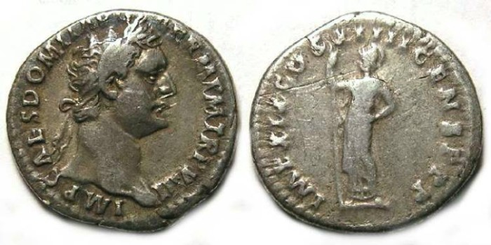 Ancient Coins - Domitian as Augustus, AD 81 to 96. Silver denarius.