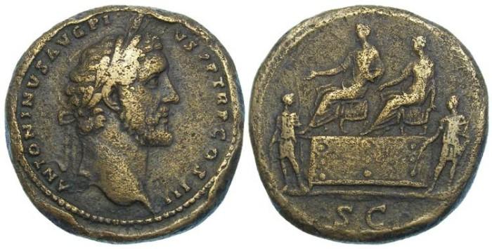 Ancient Coins - Antoninus Pius, AD 138 to 161, Bronze sestertius.