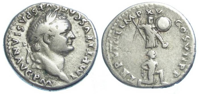Ancient Coins - Titus as Augustus, AD 79 to 81. Silver denarius.  Probably a Jewish reference coin.