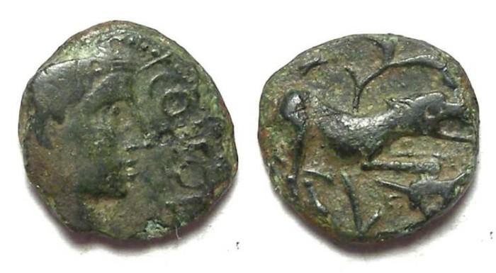 Ancient Coins - Celtic, Gaul. Santones. ca. 40 BC. Ae Quadrans.