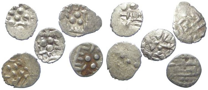 Ancient Coins - Lot of 5 coins. INDIA, Amirs of Multan. 9th to 10th century AD. Silver Damma.