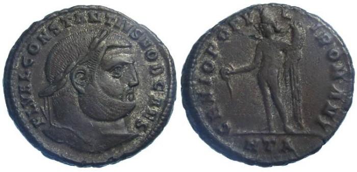 Ancient Coins - Constantius as Caesar, AD 293 to 305. AE follis.