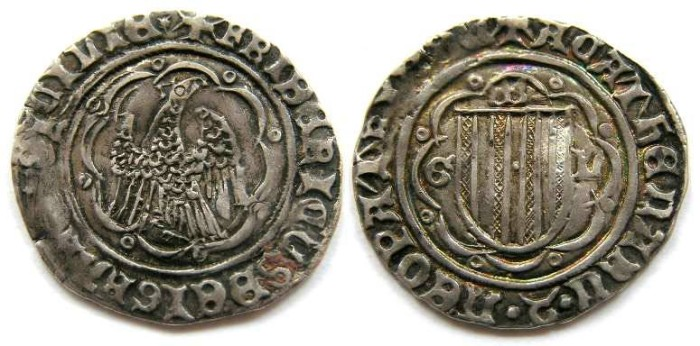 Ancient Coins - Sicily, Frederic IV (The Simple), AD 1355 to 1377. Silver pierreale