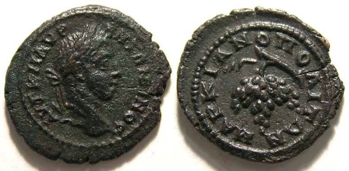 Ancient Coins - Elagabalus, AD 218 to 222, AE 17 from Marcianopolis