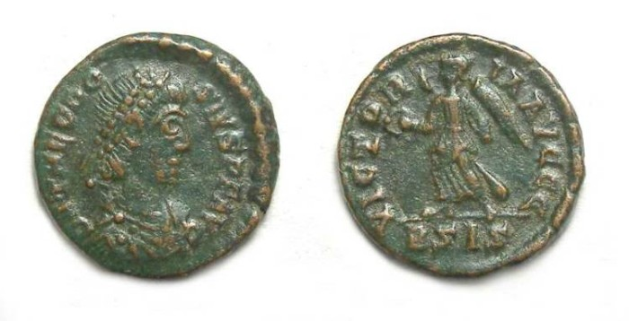Ancient Coins - Theodosius I, AD 379 to 395, AE 4.
