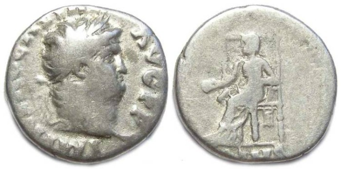 Ancient Coins - Nero, AD 54 to 68. Silver denarius. S-1945
