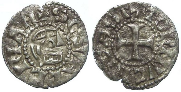 Ancient Coins - Frence Feudal. Tournus. Anonymous Abbots. ca AD 1200. Silver denier.