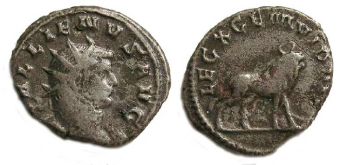 Ancient Coins - Gallienus, AD 253 to 268.  Billon Legionary (legion X) antoninianus.