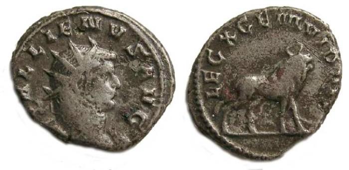 Ancient Coins - Gallienus, AD 253 to 268.  Billon Legionary (legion X) antoninianus.