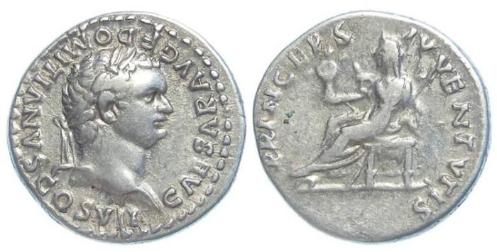 Ancient Coins - Domitian as Caesar under Vespasian, AD 69 to 79. Silver denarius