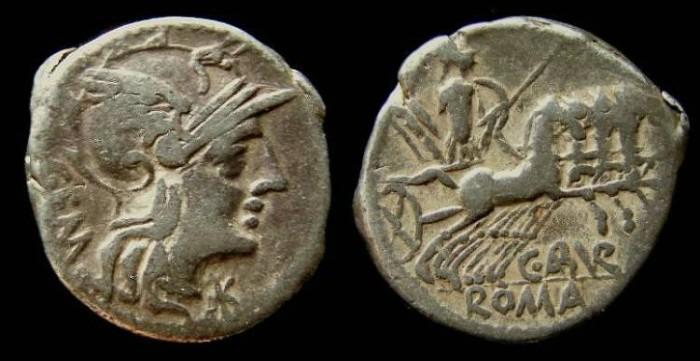 Ancient Coins - Roman Republic. C Abrurius Geminus.  Silver denarius.  ca. 134 BC.