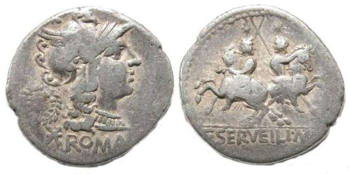 Ancient Coins - Roman Republic. C. Servilius M.f. ca. 136 BC. Silver denarius