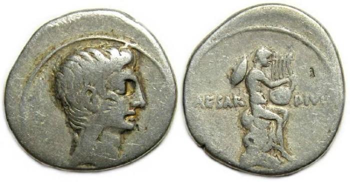 Ancient Coins - Octavian. 32 to 31 BC. Silver denarius.