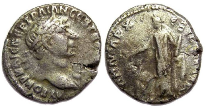 Ancient Coins - Trajan, AD 98 to 117. Silver drachm from Bostra