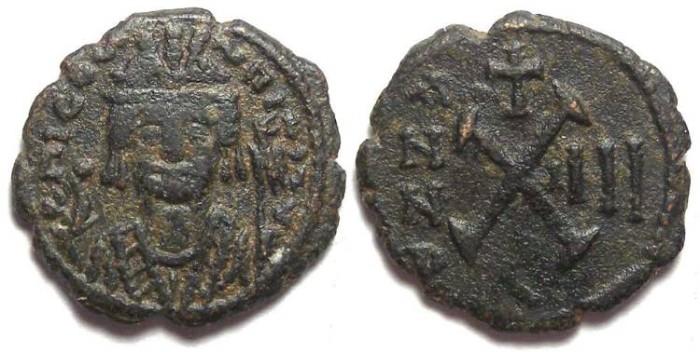 Ancient Coins - Byzantine. Maurice Tiberius. AD 582 - 602. Bronze decanummium.  Antioch.