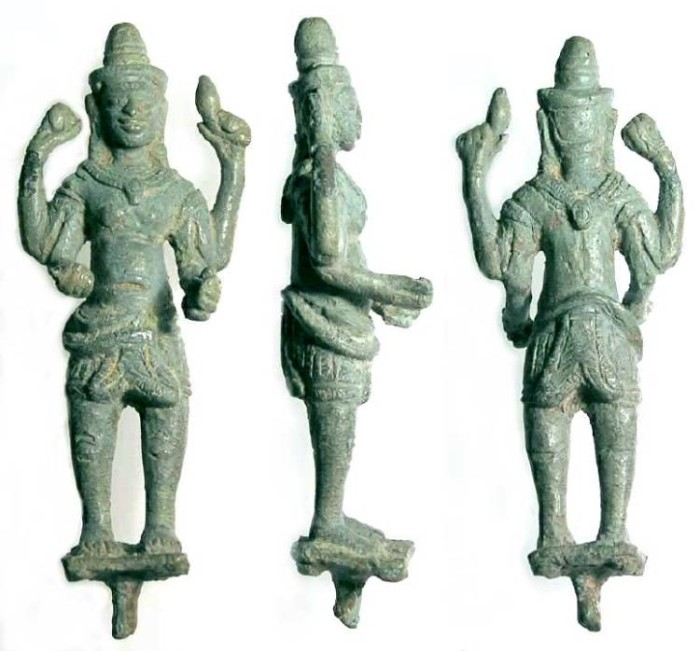 Ancient Coins - Thailand/Cambodia, Khmer Dynasty.  Bronze figure of Vishnu.  ca. 12th to 13th century AD.