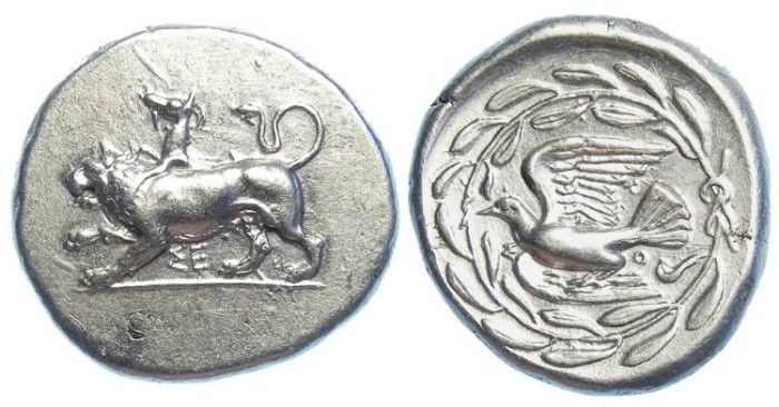 Ancient Coins - Sikyon in Sikyonia. ca. 400 to 323 BC. Silver Stater.   Exceptional strike, style and centering.