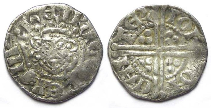 Ancient Coins - English, Henry III, AD 1216 to 1272. Silver penny (long cross).