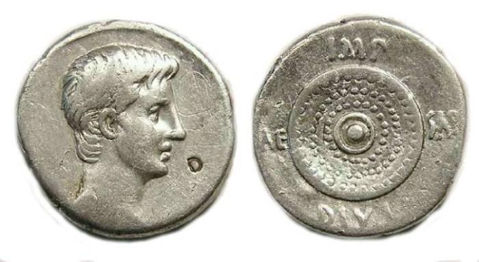 Ancient Coins - Octavian. 35 to 34 BC. Silver denarius.