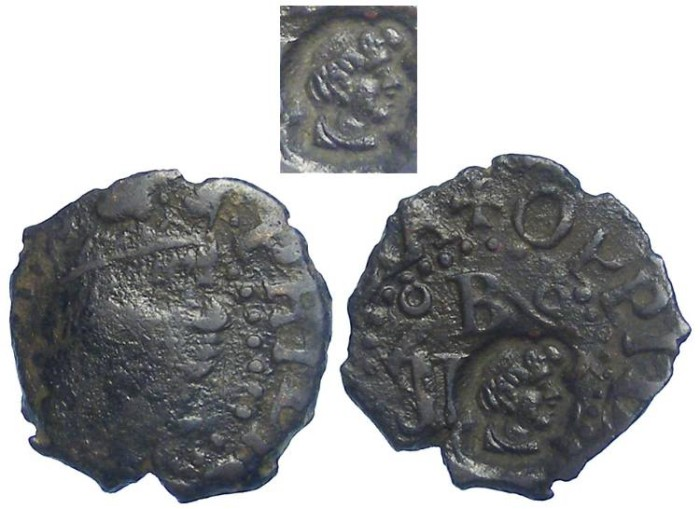 World Coins - Spain.  City of Banolas.  Local civic coinage.  Philip III, ad 1698 to 1621.  AE dinero.  Countermarked.