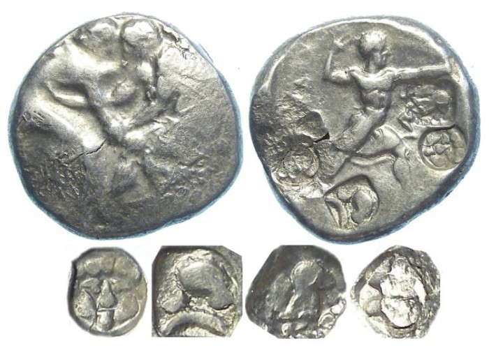 Ancient Coins - Aspendos in Pamphylia. ca. late 5th century BC.  Silver stater.  Four countermarks.