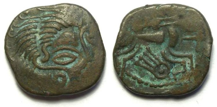 Ancient Coins - British/Gaul. Coriosolite (Armorican). ca. 75 to 50 BC. billon stater.