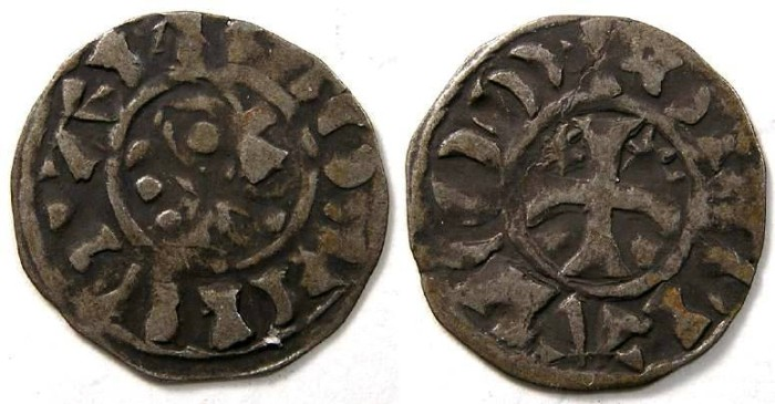 Ancient Coins - France Feudal. Penthievre.  Stephen I, AD 1093 to 1138. Silver denier.