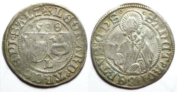 Ancient Coins - Austria. Salzburg. Leonhard von Keutschach, AD 1495 to 1519. Silver Batzen, DATED 1500