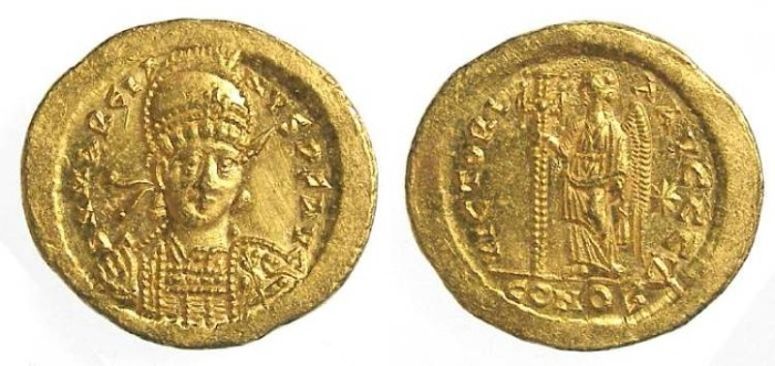 Ancient Coins - Marcian, AD 450 to 457. Gold solidus.