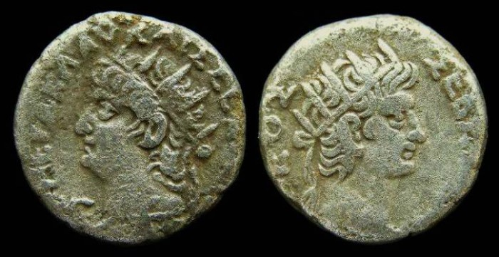 Ancient Coins - Nero, AD 54 to 68.  Alexandrian Billon tetradrachm.