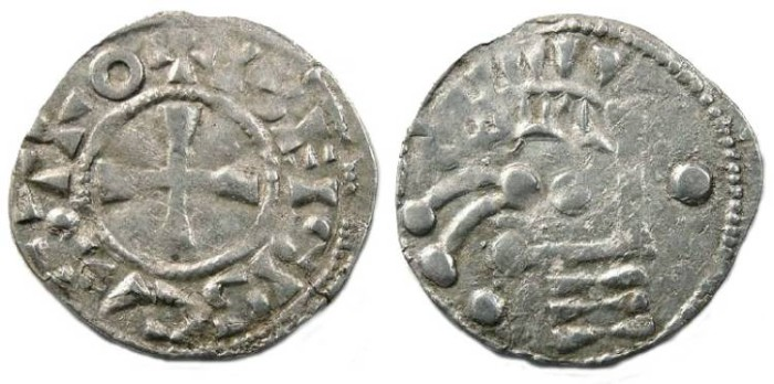 Ancient Coins - France Feudal. Blois anonymous counts. 12th to 13th century. Silver denier.
