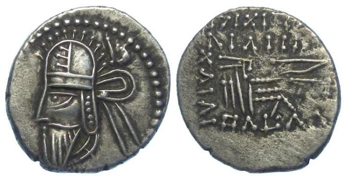 Ancient Coins - Parthia, Vologases VI, AD 208 to 228. Silver drachm
