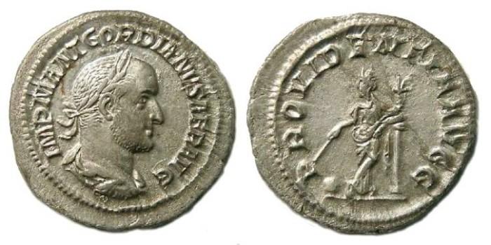 Ancient Coins - Gordian II Africanus, AD 238.  Silver denarius