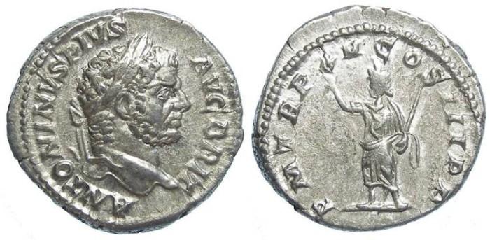 Ancient Coins - Caracalla as sole ruler, AD 211-217, Silver denarius.
