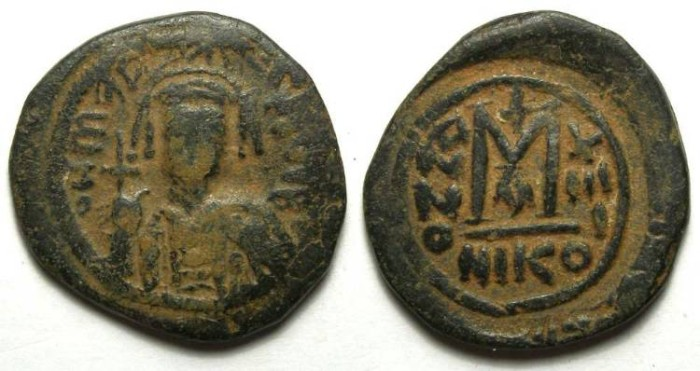 Ancient Coins - Byzantine. Maurice Tiberius. AD 582 - 602. Bronze follis