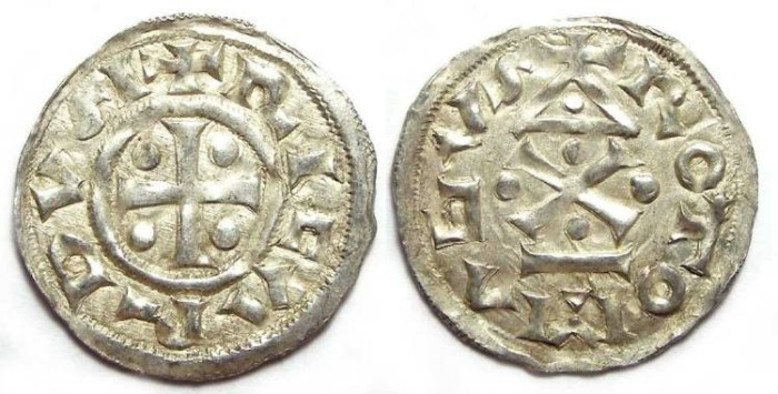 Ancient Coins - French Feudal. Normady. Richard I, AD 943 to 996. Silver denier.