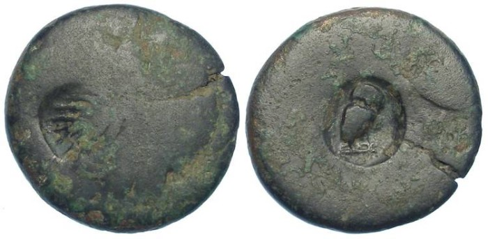 Ancient Coins - Uncertain Greek Bronze (AE 21) highly worn with two countermarks including an owl.