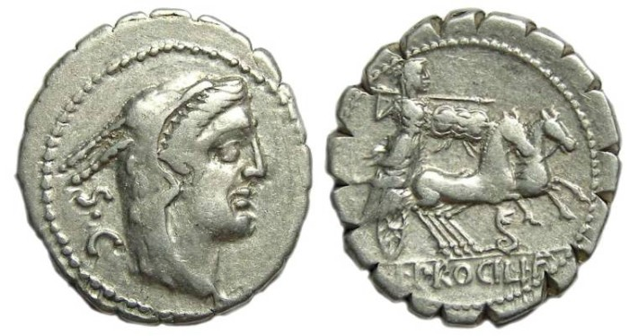 Ancient Coins - L. Procillus.  ca. 80 BC. Silver denarius
