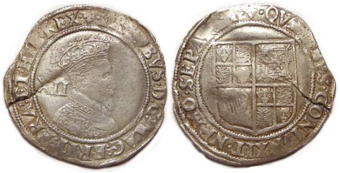 Ancient Coins - English, James I, 1603 to 1625. Silver shilling.  Obverse die of 1604-5, reverse die of 1607.
