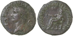 Ancient Coins - AUGUSTUS, DIVUS.  ISSUED BY CALIGULA, AD 37 TO 41. AE Dupondius