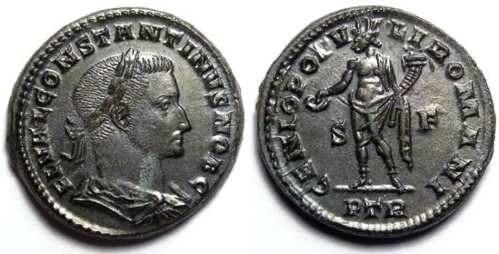 Ancient Coins - Constantine I, as Caesar, AD 307 to 337. AE follis.