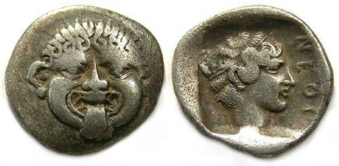 Ancient Coins - Macedonia, Neapolis.  ca. 411 to 348 BC.  Silver hemidrachm.