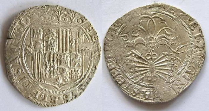 Ancient Coins - Spain, Kingdom of Castile, Ferdinand and Isabella, AD 1474 to 1504, 4 real.