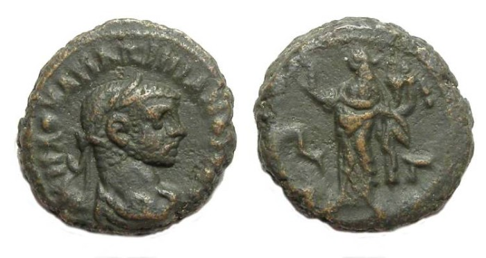 Ancient Coins - Alexandria, Maximianus, AD 286 to 305, Yr-3 potin tetradrachm. 18.8 mm.