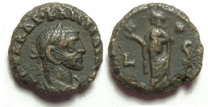 Ancient Coins - Alexandria, Diocletian, AD 284 to 305, Yr-6 potin tetradrachm. 17 mm.