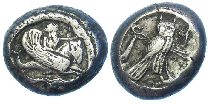 Ancient Coins - Phoenicia. Tyre. ca. 400 BC. silver dishekel.