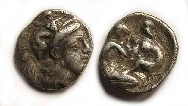 Ancient Coins - Taras. ca 4th century BC. Silver diobol.
