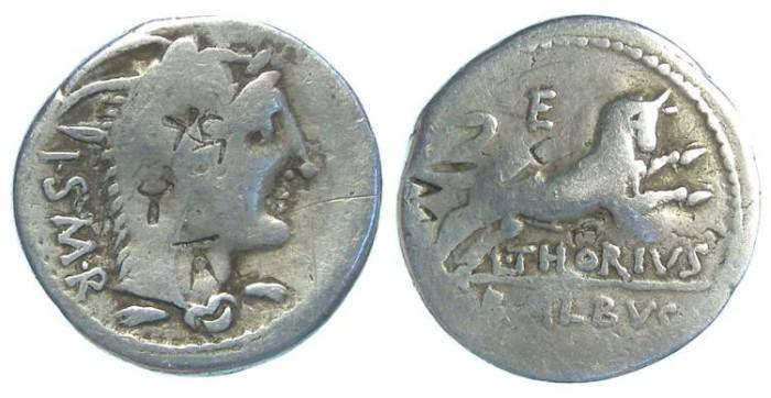 Ancient Coins - L. Thorius Balbus. ca. 105 BC. Silver denarius