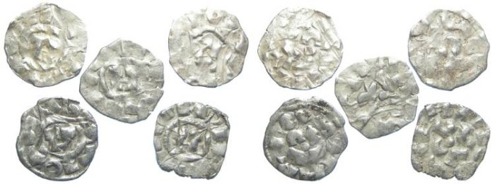 Ancient Coins - LOT OF 5 COINS.  ITALY.  Lucca.  Henry III to V, AD 1035 to 1125.  AR denaro. (possibly Crusader issue).