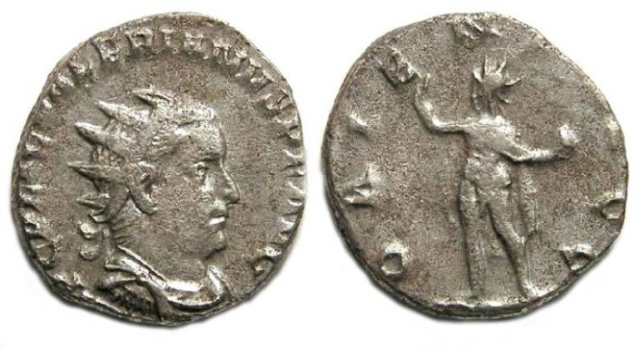 Ancient Coins - Valerian I, AD 253 to 260. Billon Antoninianus  on a small thick flan